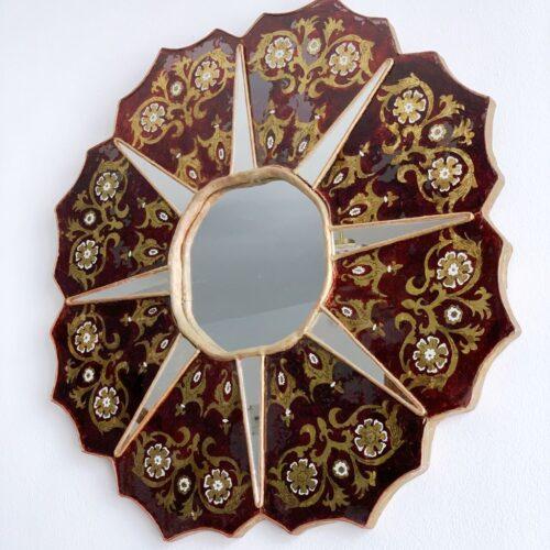 Espejo sol con marco de cristal pintado y pan de oro. Vintage 1ª mitad siglo XX.