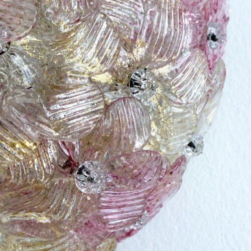 BAROVIER & TOSO - Exquisita lámpara de cristal de Murano, con flores rosas y polvo de oro, vintage años 70s.