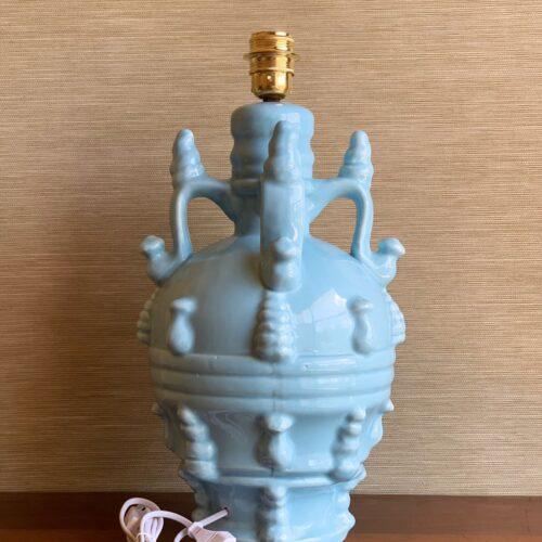 Lámpara vintage de cerámica de Manises en color azul. Vintage 50s-60s.