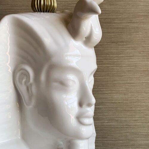 MÁSCARA DE TUTANKAMÓN - Singular lámpara de cerámica de Manises, en estilo egipcio. Vintage 50s-60s.