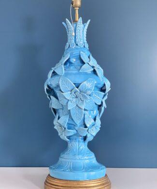 XXL lámpara de cerámica de Manises en color azul. C. Bondía. Vintage años 50s-60s.