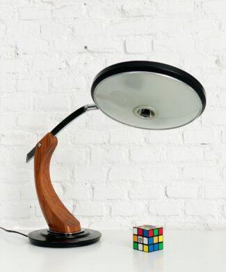 FASE PRESIDENT - Lámpara de despacho en acero y madera de nogal, vintage 60s-70s. 1as ediciones, modelo antiguo.